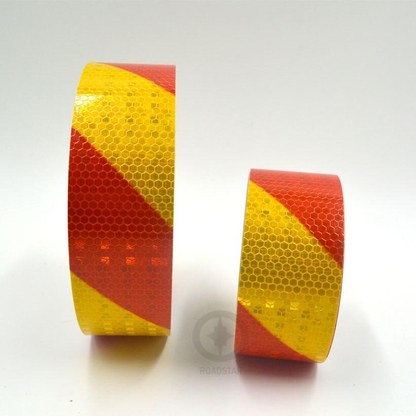 5cmx10m petit ruban réfléchissant avertisseur carré brillant auto-adhésif avec couleur rouge jaune pour voiture et moto