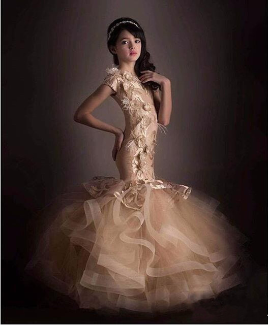 Champagne Vintage Juniors Elegant Dress Glitz Mermaid Pageant ...