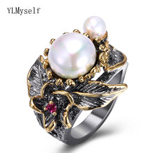 Ylmyself 2021 винтажные женские кольца с жемчугом и узором из