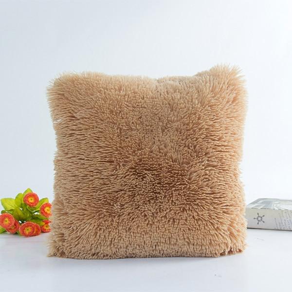 16x16 Plush Pillow Case Cover Faux Fur Soft and Comfy Vintage Christmas Bed Home Pillow Case