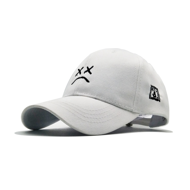 Lil Peep Dad Hat Embroidery Cotton Baseball Cap Black White Pink Hat Sad Face Caps Golf Snapback Hip Hop Cap Women Men Sun Hats