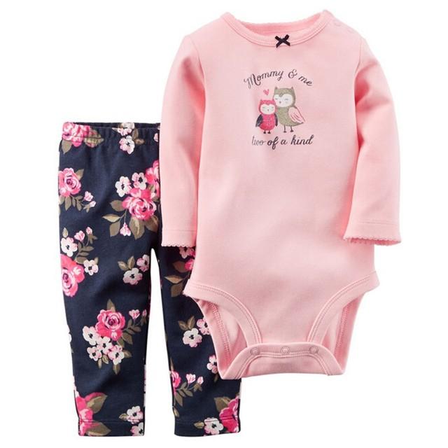 Retail 20176 Primavera Estilo Ropa de Bebé Iinfant Cothing Establece Boy Algodón Pequeño Personaje de Manga Larga 2 unids Baby Girl/ropa de niño