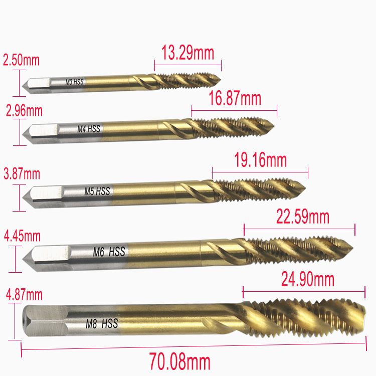 5pc//lot Titanium Coated HSS Spiral Fluted Screw Tap Set M3 M4 M5 M6 M8 Thread Cutting Tapping Tool