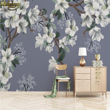 цена на beibehang papel de parede 3D Flowers Wallpaper for wall Gray TV background wallpaper for walls 3 d photo wall papers home decor