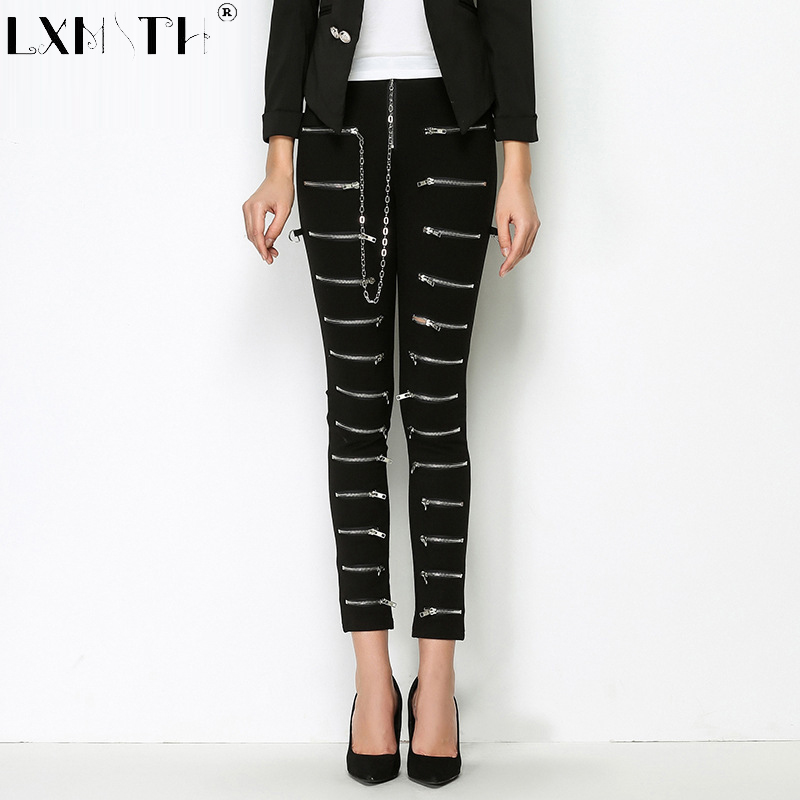 New Striped Zipper Pencil Pants Slim Trouser Solid High Waist Pants Capris Women Full Length Long Trousers For Women Black S M L