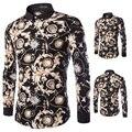 2016 Brand Chemise Men Luxury Leopard Print Shirt Silk Slim Fit Shirts Velvet Club Hombre Camisa Social Masculina XJ099212