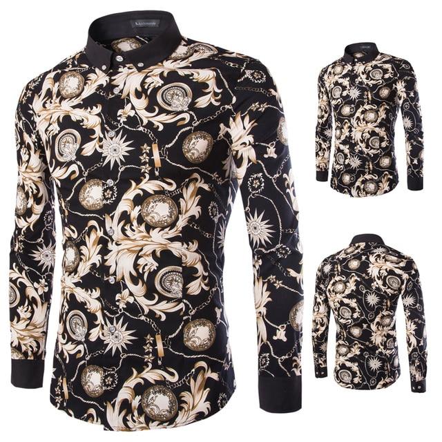 2016 marca Chemise Hombre de lujo Camisa de estampado de leopardo de seda Slim Fit camisas del Club de terciopelo Hombre Camisa Masculina sociales XJ099212