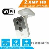 WiFi Camera DS 2CD2420F IW HiK 2MP IR Cube Network PoE IP Camera Original English Security