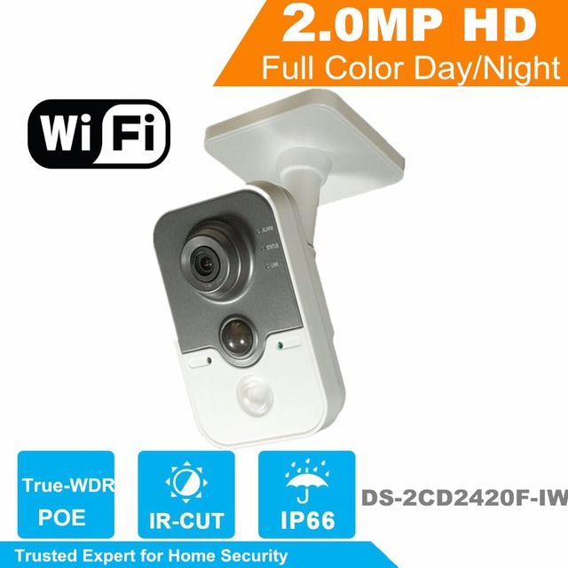 WiFi Camera DS-2CD2420F-IW HiK 2MP IR Cube Network PoE  IP Camera Original English Security Camera for Home Security No logo