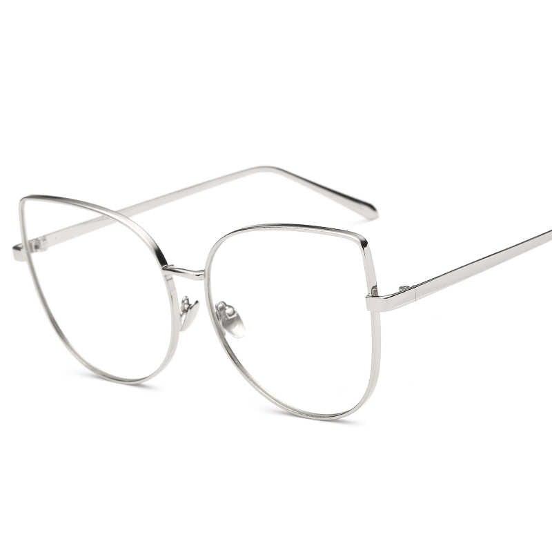 168dd39edb ... Peekaboo new sexy big cat eye glasses frames for women brand black  silver gold clear fashion ...
