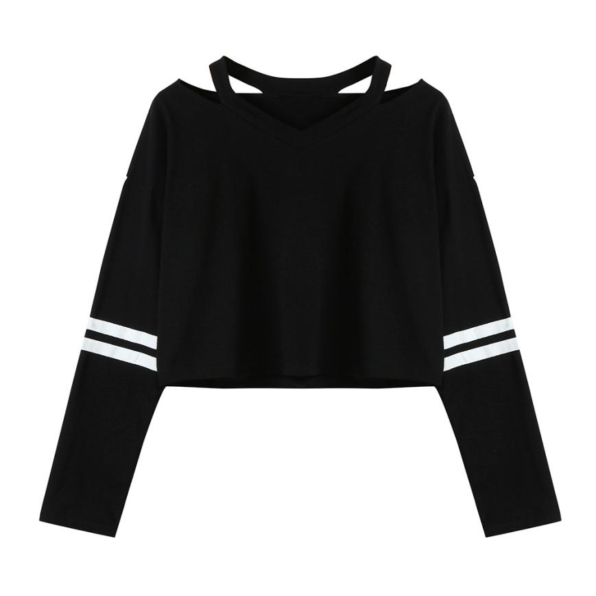 Clothing Women sexy cut out V neck halter shirts basic  long sleeve slim solid brief female casual European tops  blusas