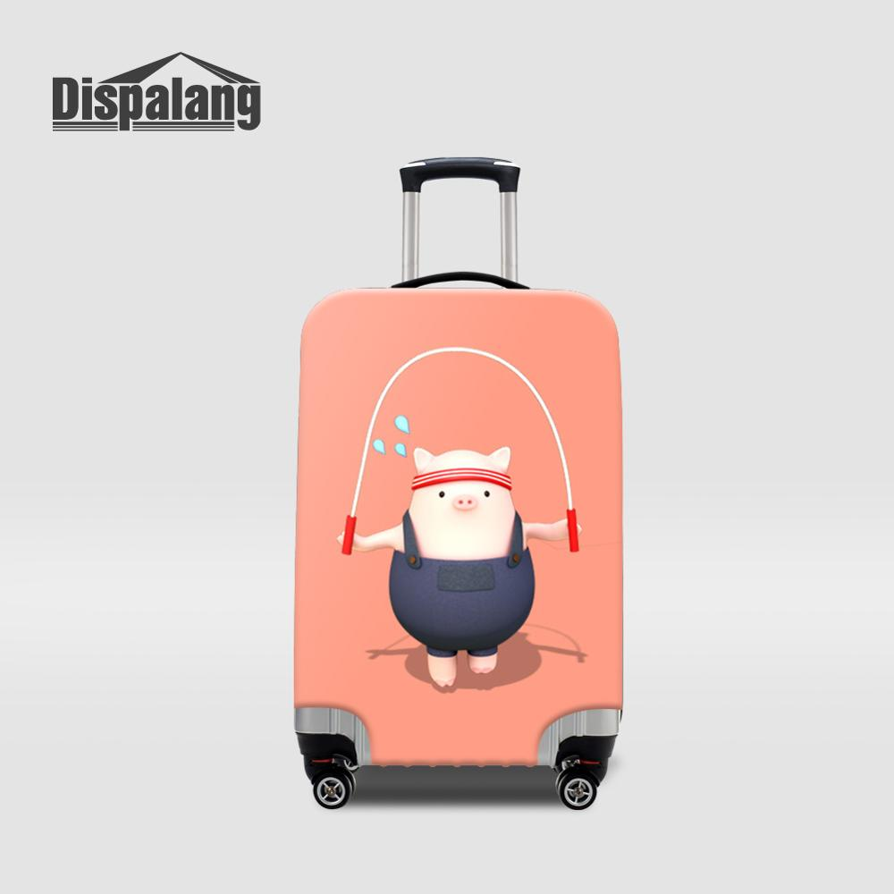 Cute Pig Cartoon Luggage Protective Cover For Children Piggy Waterproof Suitcase Covers For 18-32 Inch Women Travel Accessories image