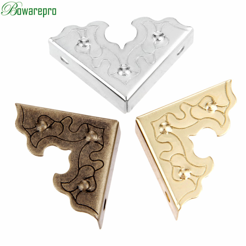 Bowarepro Antique Jewelry Box Corner Foot Wooden Case Corner Protector Decorative Corner For Furniture Metal Crafts 25mm 10PCS