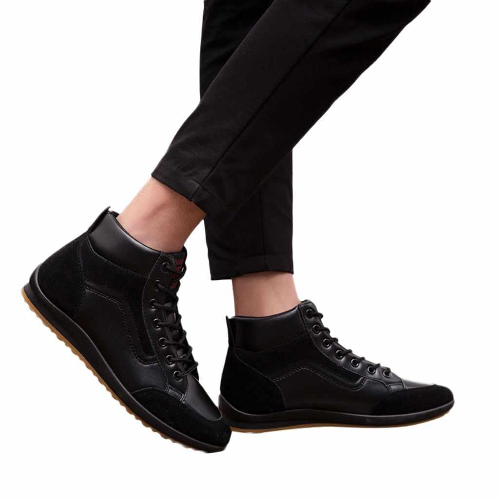 SAGACE erkek dört mevsim yardımcı olmak için rahat ayakkabılar retro erkek ayakkabıları moda çizmeler erkekler yüksek üst spor düz silikon ayakkabı 2019