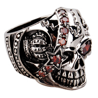 Thai 925 Silver Vintage Punk Gothic Skull Ring Pirate Queen Ring Halloween Gift