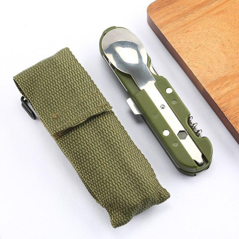 Multifuncional acampamento utensílios de mesa ultraleve portátil dobrável ferramentas, aço inoxidável multi ferramentas colher, garfo, faca, abridor de garrafa