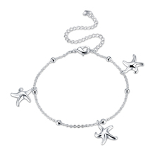 Hot Sale High Quality New Fashion Jewelry Cute Silver Plated Anklet Silver Plated Starfish Pendant Anklet