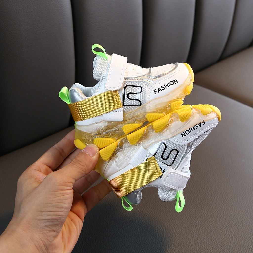 เด็กหญิง Led Luminous Sport Run รองเท้าผ้าใบลำลองรองเท้า USB ชาร์จรองเท้าเด็ก LED หญิงรองเท้า