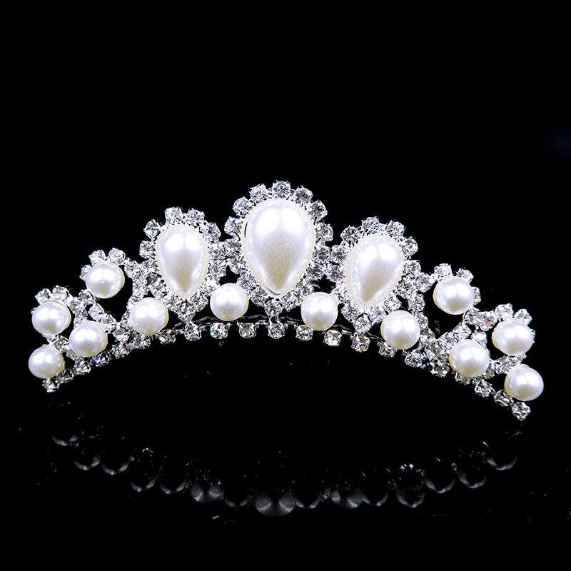 2018 Elegant Imitation Pearl Rhinestone inlay Bridal Crown Tiara Wedding Bride Hair Jewelry Comb Accessories