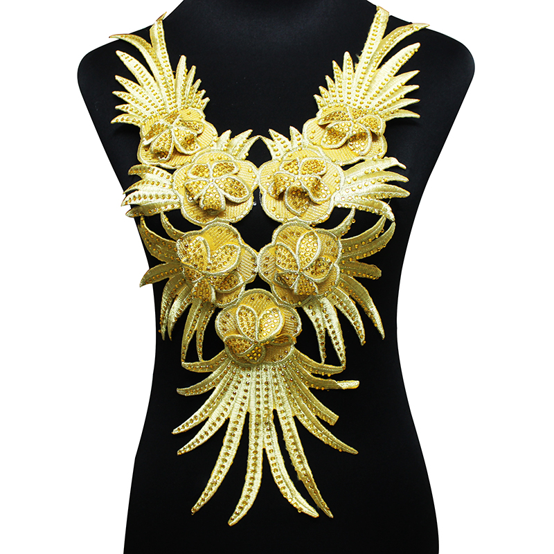 2piece Beaded Rhinestones Gold Tassel Patches Iron On Collar Stickers 3D Embroidery Neck Applique For Craft Dance Dress T1736