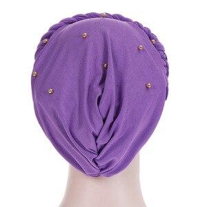 Image 5 - Moslim Vrouwen Elastische Bead Cross Katoen Braid Tulband Hoed Sjaal Chemo Mutsen Cap Hijab Hoofddeksels Hoofd Wrap Haaraccessoires