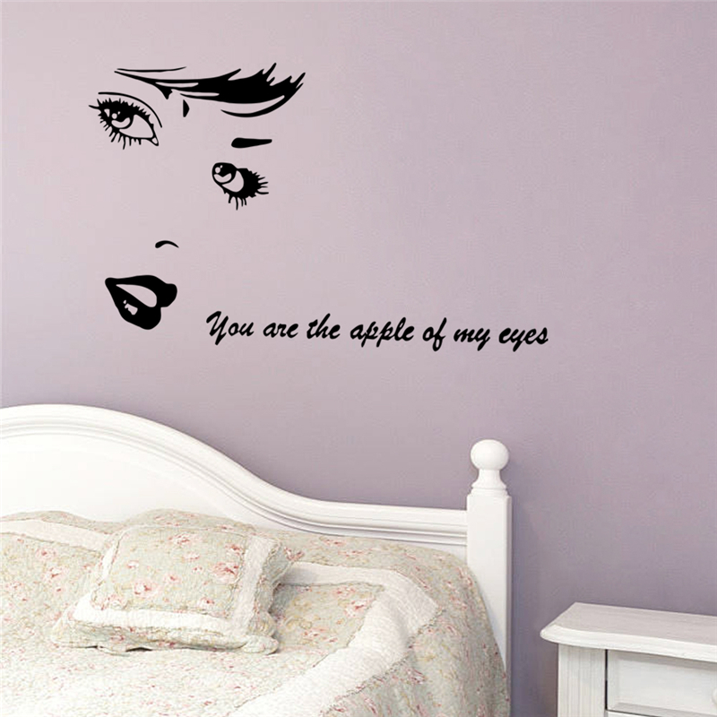 beautiful girl you are the apple of my eyes wall decals for living room removable home decoration stickers vinyl black art-in Wall Stickers from Home ... & beautiful girl you are the apple of my eyes wall decals for living ...