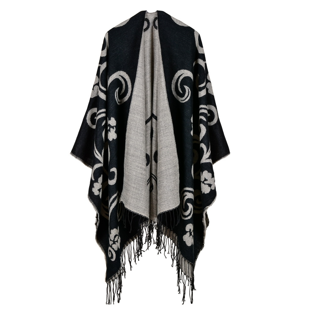 2019 brand women poncho thick quality warm winter scarf cashmere feeling ponchos and caps with Tassels female knit Blanket coat in Women 39 s Scarves from Apparel Accessories