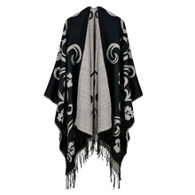 2019 brand women poncho thick quality warm winter scarf cashmere feeling ponchos and caps with Tassels female knit Blanket coat