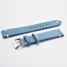 цены на Leather Strap Watch Bracelet Belt Blue/Dark Blue Watchbands Genuine Watch Band 18mm 20mm 22mm Strap Wristban #CF в интернет-магазинах