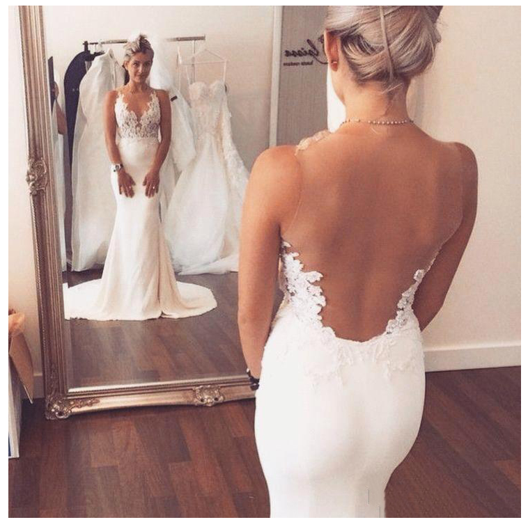 LORIE Mermaid Wedding Dress 2019 Vestidos De Novia Vintage Lace Appliques Bridal Dress See Through Back Beach Wedding Gowns