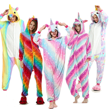 Adult Kigurumi pajamas with animal Stitch unicornio Pajamas Pink Unicorn Sets Women Men Unisex Flannel  Nightie2019The New