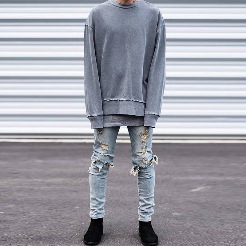 2016 Mens Distressed  jeans Kanye West Represent  Ripped Jeans Slp Jeans Black And Light blue Mens Skinny Pants