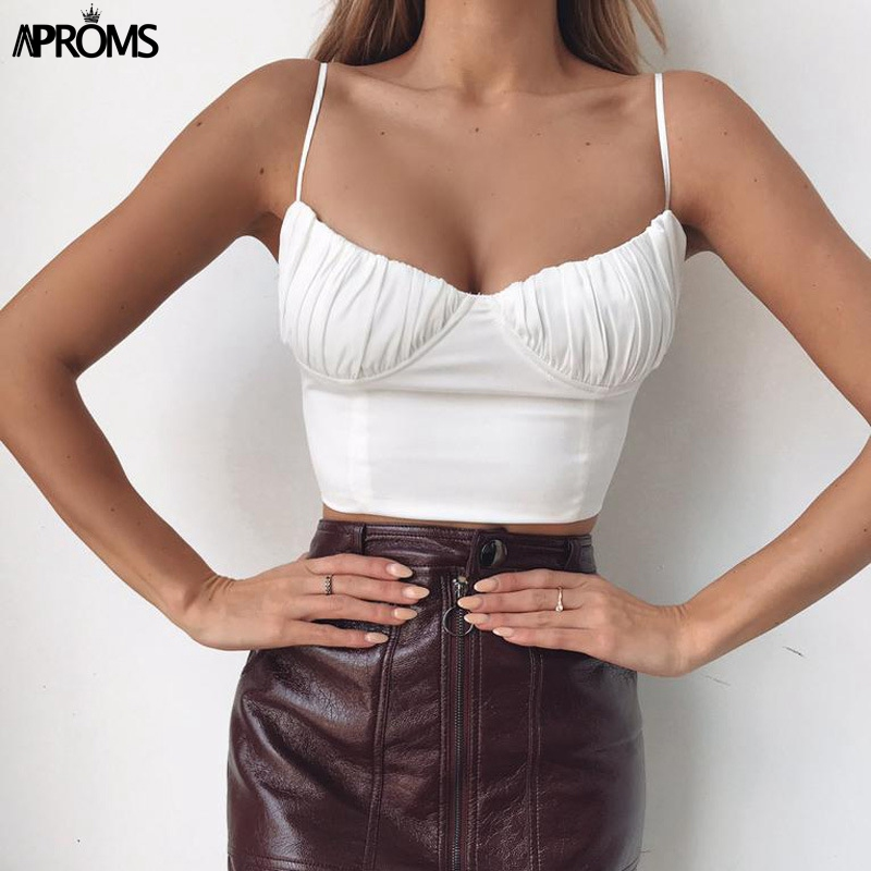 Aproms Elegant Lace Up Solid Color Camis Women Streetwear Fashion Party Club Basic   Tank     Top   90s Cool Girls Tees Camisole 2019