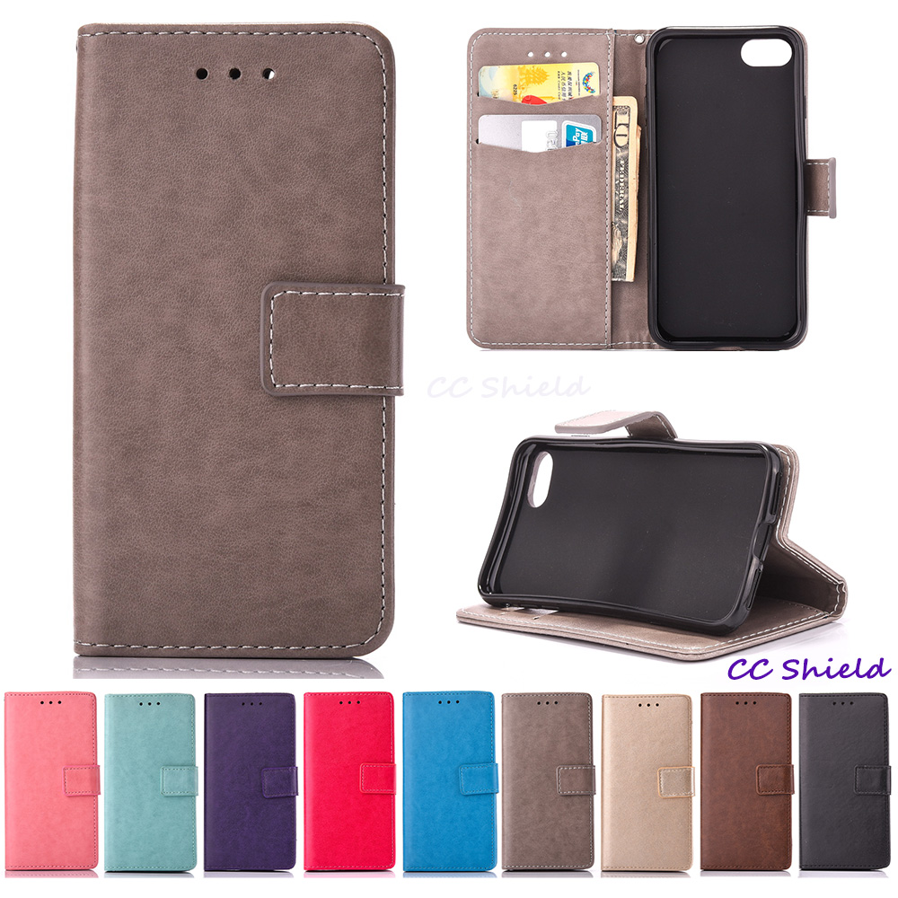Solid color Leather Cover for Apple 7 plus iPhone 7 plus Phone TPU Back Box Wallet card slot phone case for Apple iPhone7plus