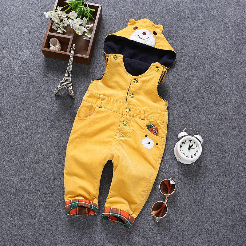 6m- 3 T Baby Rompers Winter Girls Boys Overalls Toddler Warm Velvet Bear Hooded Infant Long Pants Kids jumpsuit Pink Yellow 2 infant toddler baby kids boys girls pocket jumpsuit long sleeve rompers hats kids warm outfits set 0 24m
