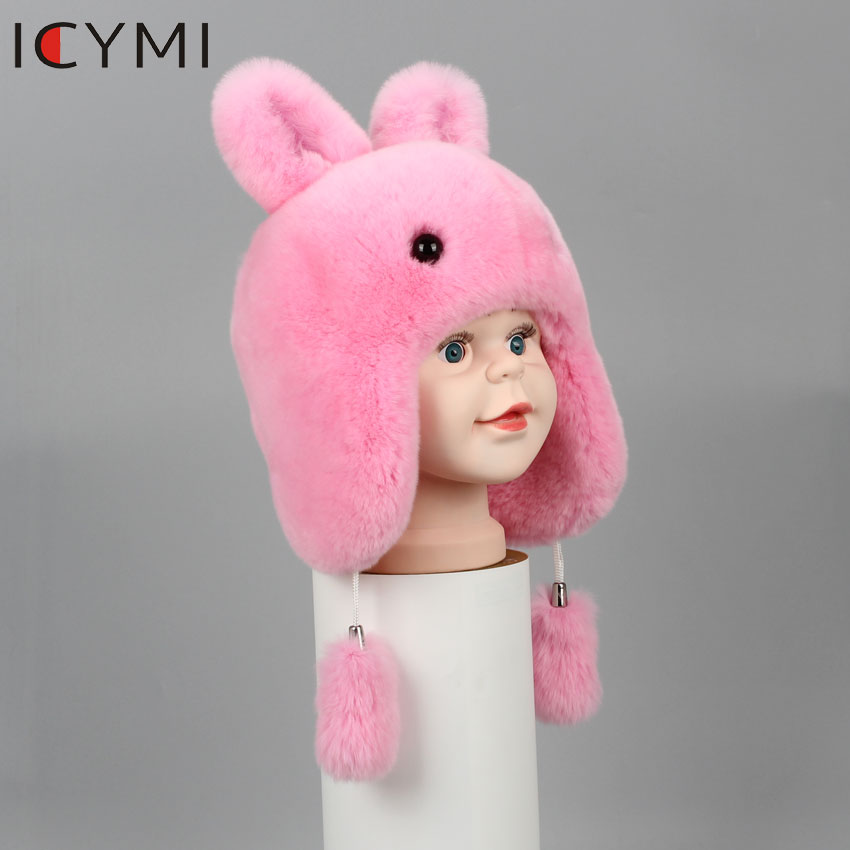 Image 4 - ICYMI New Russian Fur Hat Winter Boys Girls Real Rabbit Hat  Children Earmuffs Warm Fur Bomber Hats With Big Ear Rabbit Fur CapsHats