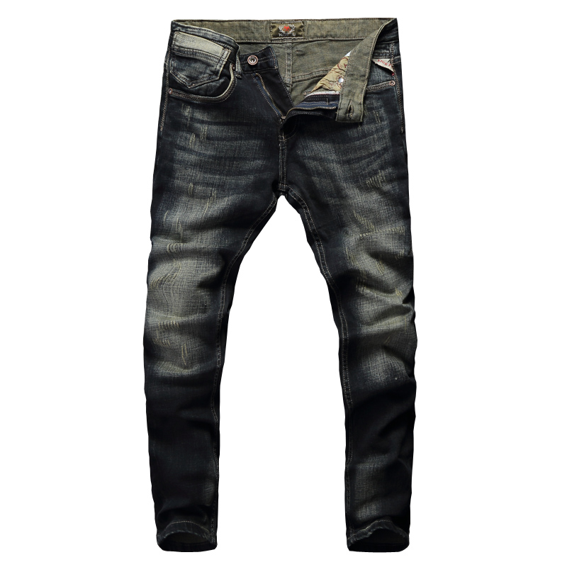 2019 New Fashion Classical Jeans Men Vintage Designer Cotton Denim Pants Slim Fit Retro Washed Ripped Jeans For Men Trousers