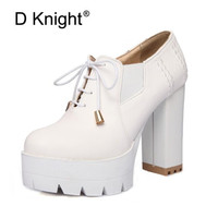 British White Black Pumps Women Shoes College Platform Women's Shoes Retro Lace Up Lady Thick High heeled Pump Shoes Big Size 43