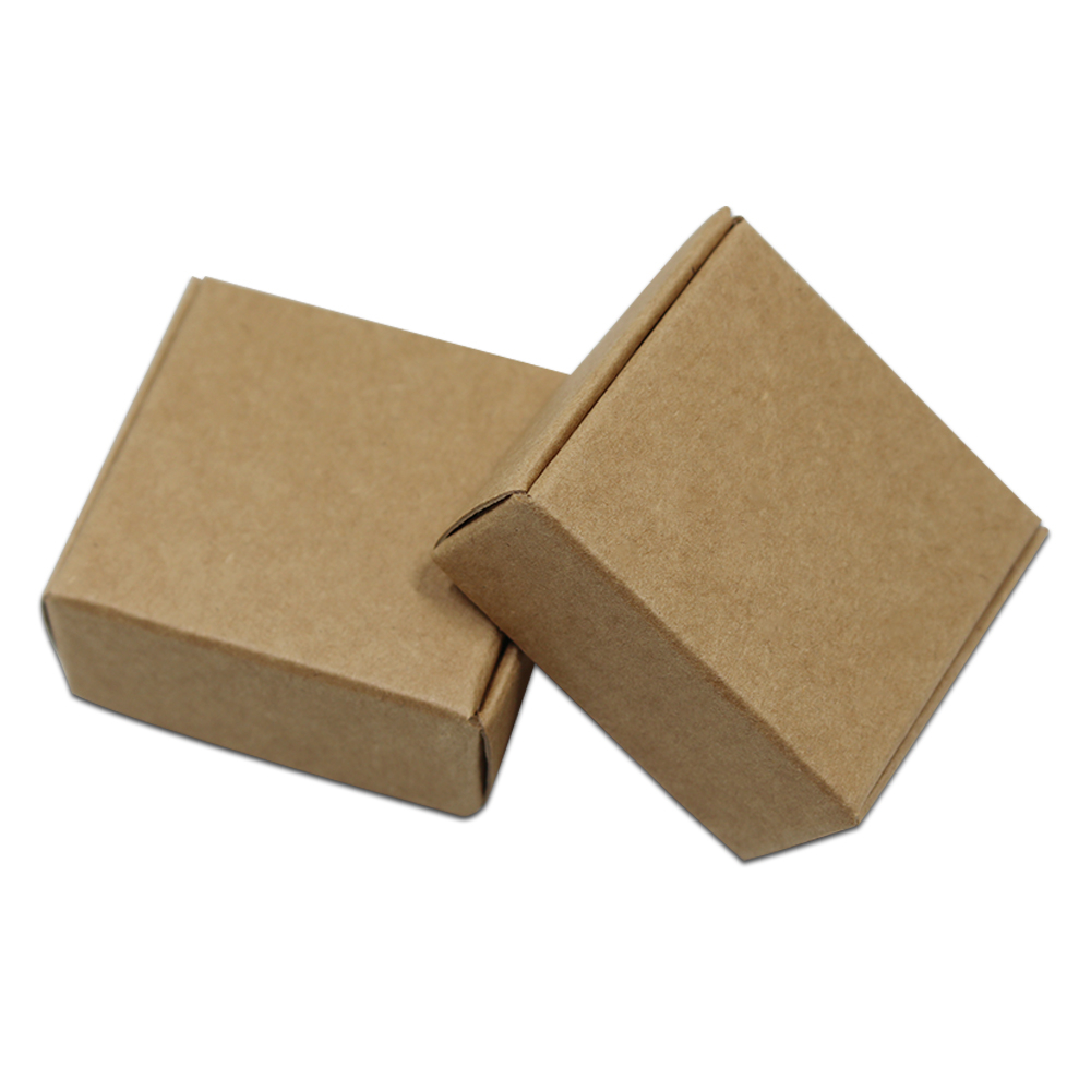 100pcs/Lot Blank Kraft Paper Box Packaging Small Cardboard Handmade Soap Gift Box For Wedding Craft Jewelry Candy Box Folding