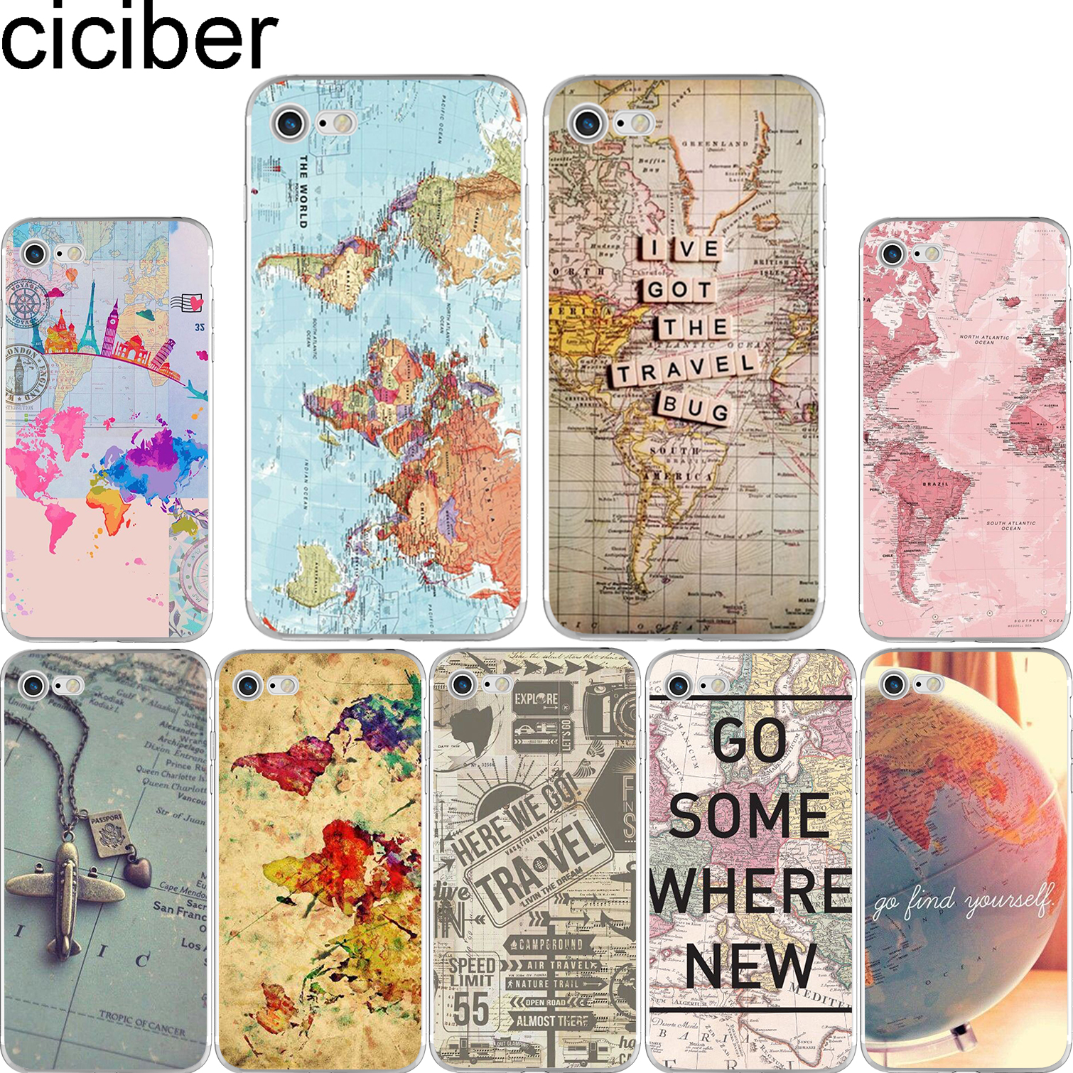 Iphone 6 World Map Case.World Map Travel Plans Soft Silicon Phone Cases Cover For Iphone 6