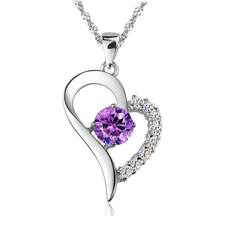 Wholesale Silver Plated Crystal everlasting Love Heart Charms Necklace Pendant (not match chain)