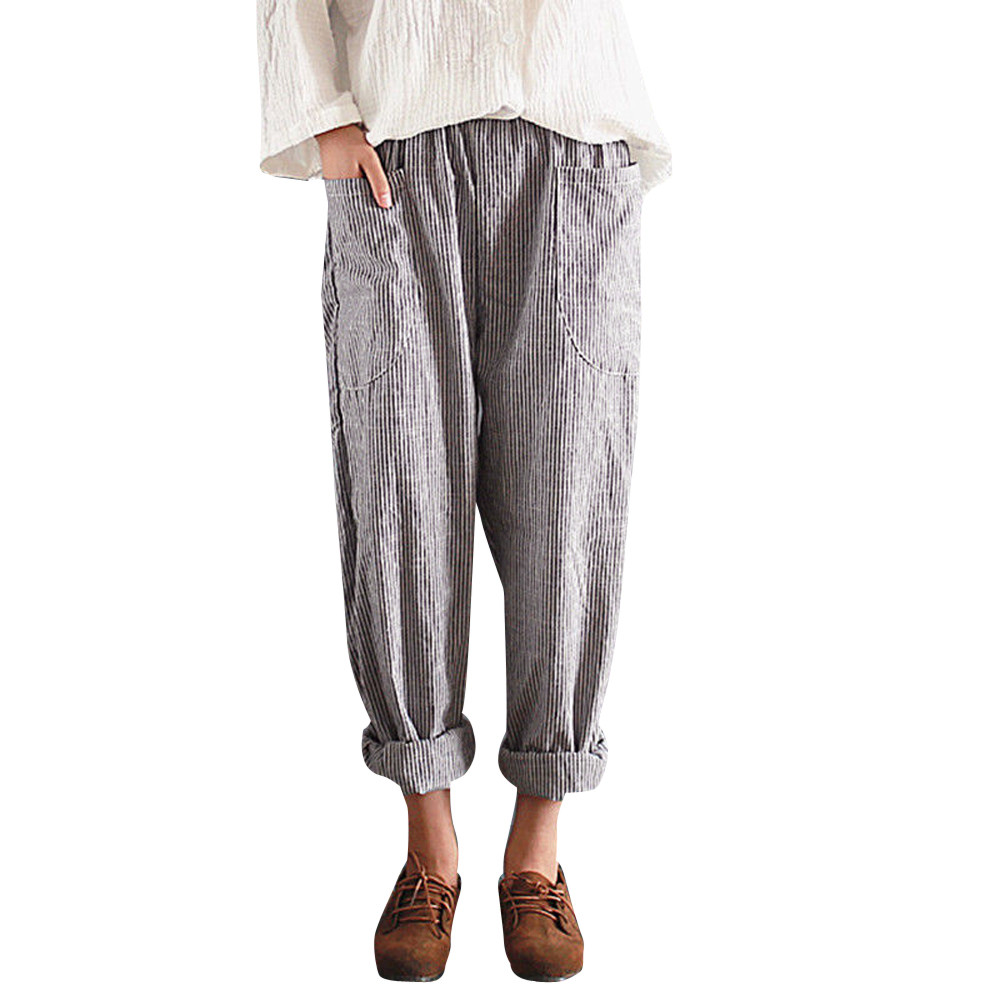 S-2XL Cotton Linen   Pants   for Women Trousers Loose Casual High Waist Vintage Striped Women Harem   Pants     Capri   Women's Summer