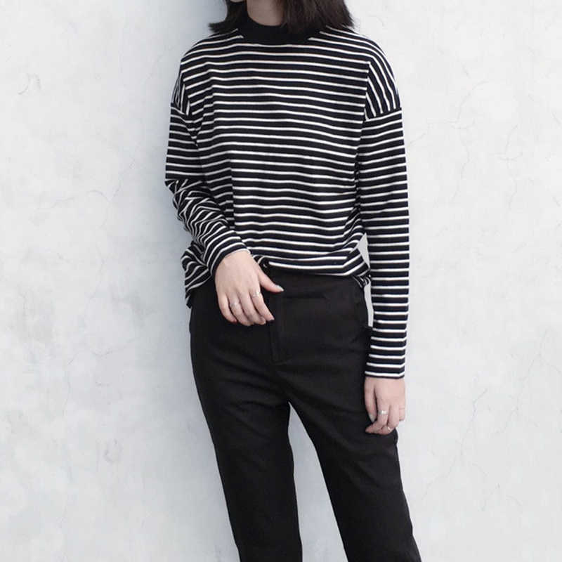 New Women Turtleneck Korean Style T Shirt Harajuku Crop Top Long Sleeved Striped Tops Female T Shirt Summer Casual Tops