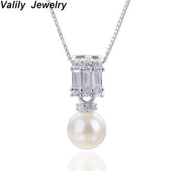 132a4d923824 Valily 100% auténtica plata esterlina 925 collares simulado-collar de  perlas para mujeres Zirconia cúbica cadenas COLLAR COLGANTE