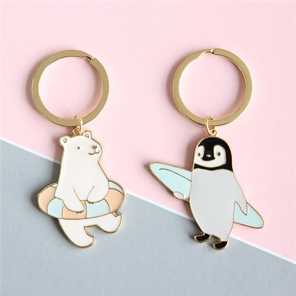 New Trendy Cute Cartoon Keychain Animal Penguin Polar Bear Key Ring Jewelry For Women Girls Fit Gift
