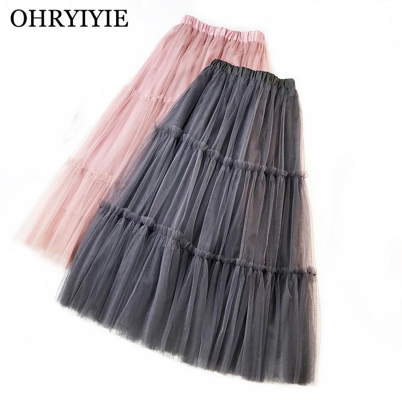 OHRYIYIE Spring Summer Tulle Skirt Women 2019 Casual Patchwork Tutu Skirt Female High Waist Mesh Midi Skirts Jupe Longue Femme