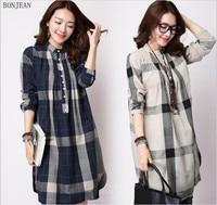 Women Blouses Blouse Women Shirts Large Size Korean Version Of 2017 New Spring Loose Comfortable Plaid Cotton Sleeved Shirt