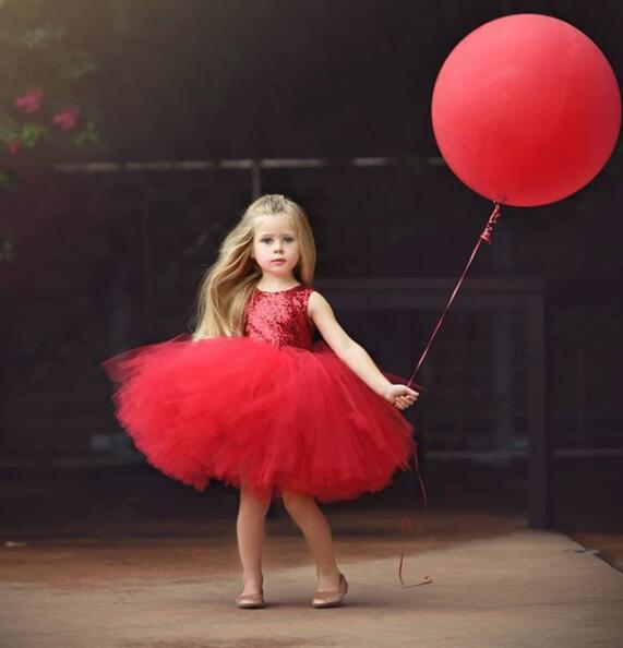 Knee length ball gown tutu puffy tulle flower girl dress baby infant sleeveless 1st birthday party outfit with bling red sequins cute sleeveless sequins embellish multilayered girl s ball gown dress