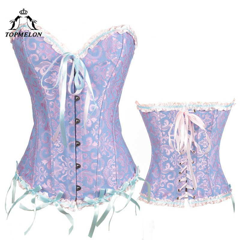 TOPMELON Steampunk   Corset     Bustier   Gothic   Corset   Women Corselet Sexy   Corset   Retro Floral Bow Party Shows Plays   Corset   Tops 6XL