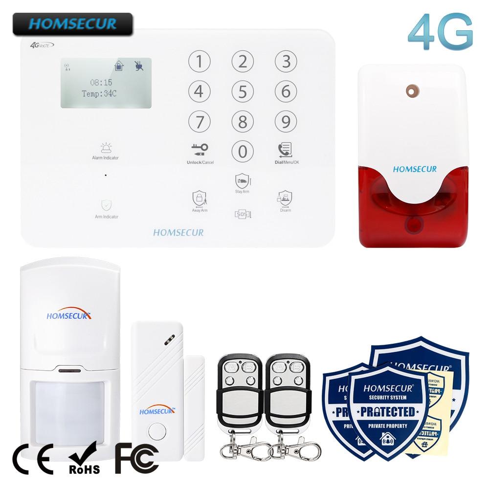HOMSECUR Wireless 4G 3G GSM LCD SMS Autodial Burglar Alarm System Touch Panel GA01 4G W